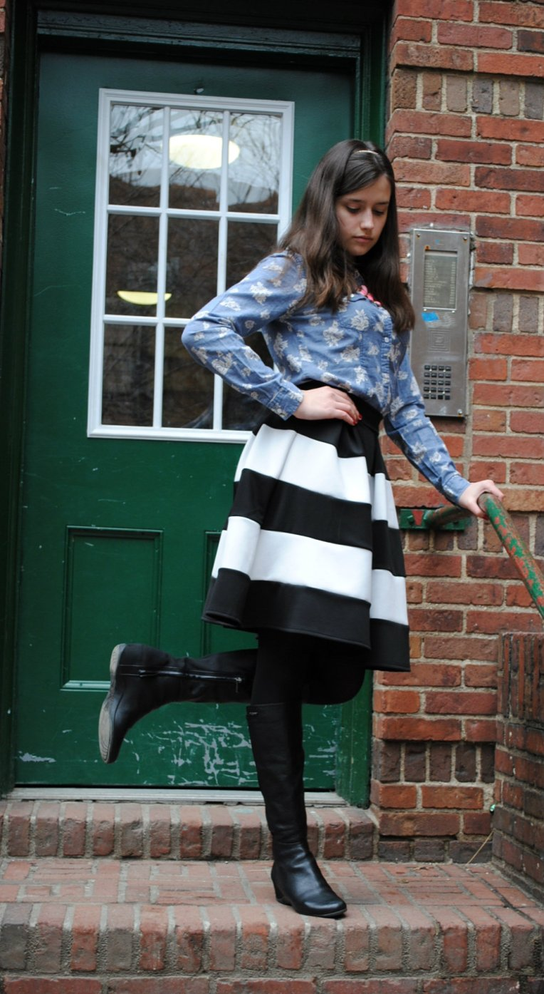 Headband-Forever 21 Shirt-Marshalls Skirt-Love Culture Boots-DKNY