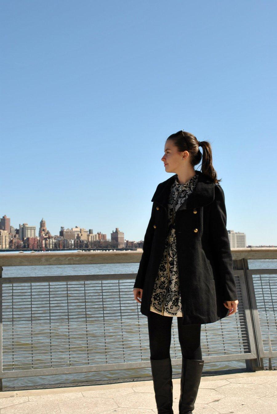 Coat-Bethany Mota for Aeropostale Dress-Forever 21 Tights-Hues Boots-DKNY Clutch-Aldo Sunglasses-Betsey Johnson